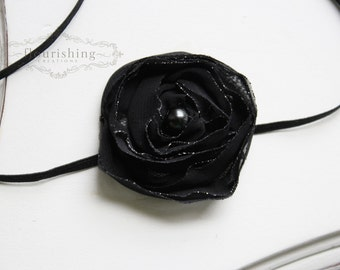 Black Chiffon flower headband,  headbands, newborn headbands, black headbands, photography prop