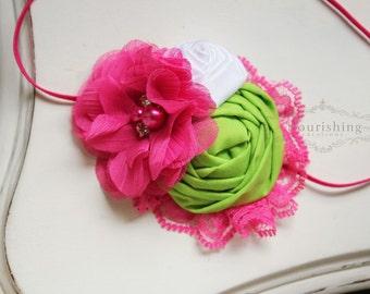 Hot pink and Lime headband, rosette headbands,newborn headbands, summer headbands,photography prop