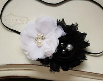 Black and White headband, black headband, baby headband, newborn headband, chiffon headbands, photography prop