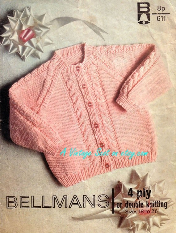 Knitting Pattern Baby Chest Sizes : Baby 4ply and DK Vintage for a cardigan in sizes 18 to 26
