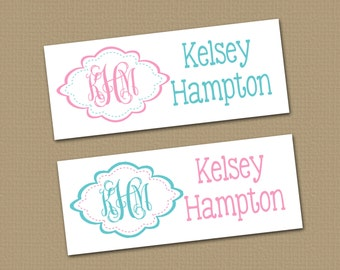 Personalized Waterproof Label Stickers - Perfect for Bottles, Sippy Cups, Daycare, School - Dishwasher Safe - girl - monogram - 068