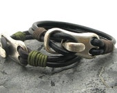 FREE SHIPPING Anniversary Gift, Men-Women couple leather bracelet. Brown leather multi strand bracelet with  silver plated clasp