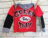 12 month size Green Day Red, Black and Grey Long Sleeve Layered Sleeve Upcycled T-Shirt. Dragon, layered sleeves /Gifts under 50
