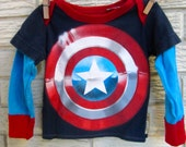 12 month size Captain America Long Sleeve Layered Sleeve Upcycled T-Shirt. Gifts for kids / Red, Blue, White, Navy, Shield /Gifts under 50