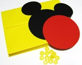 "Mickey DIY Invitation Kit w/envelopes- Mickey head with shorts: 40 pack- 5"" Mickey Mouse ear die cuts (BLACK) w/ 20 circles (RED) & buttons"