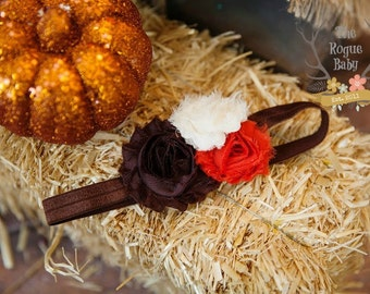 Fall Headband - Brown Orange Cream -  Baby Newborn Infant Photo Prop Toddlers Girls Women Autumn