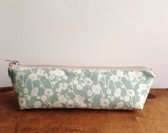 Pencil Case, Sky Blue Floral Triangle Pencil Pouch, Cute Pencil Case, Small Zipper Pouch, White Floral, Makeup Bag