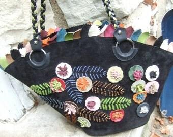 Unique Suede Beaded Applique Flower Handbag