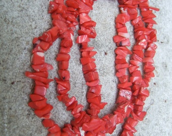 Stylish Coral Long Strand Necklace c 1980s