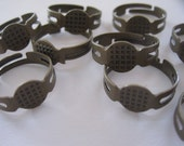 Adjustable Antique Bronze Brass Ox Antique Gold Ring Blanks Ring Bases with a 8mm Gluing Pad Lot od 10, 20, 30. 40 or 50 by BySupply