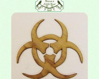 Bio Hazard Sign / Symbol  (Large ) Wood Cut Out -  Laser Cut