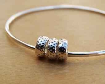 Silver Bangle & Dotty Silver Beads