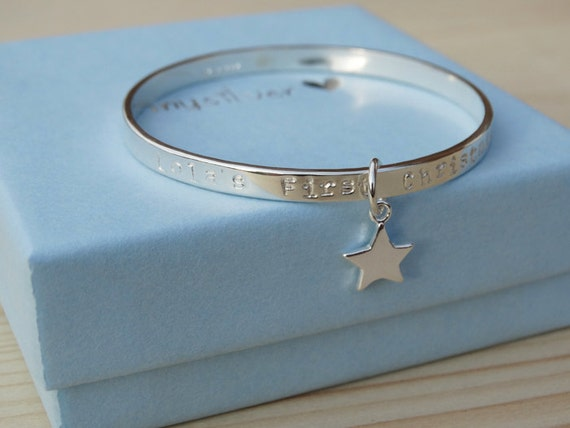 Personalised Silver Star Bracelet For Babies First Christmas - Sterling Silver