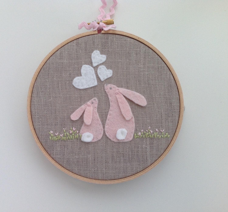 Pink felt rabbit hoop art baby shower gift nursery decor