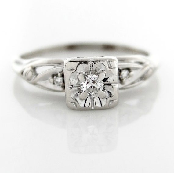 Vintage Art Nouveau Diamond Solitaire Engagement Ring by baffy21
