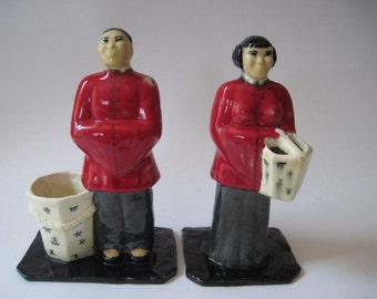 Vintage Pair of Ceramic Male and Female Asian Figurines Planters 1940's