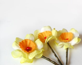 Hair Flower Pins, Yellow and Orange Flower Hair Clips, Flower Bobby Pin
