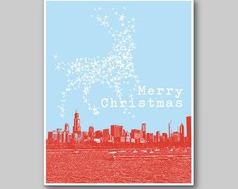 8x10 Chicago Skyline Christmas Reindeer Print