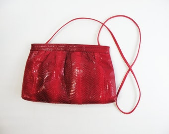 Red Snake Skin Vintage Pierre Cardin Shoulder Bag Purse Clutch