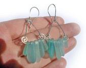 Blue Sea Glass Earrings. Sterling Silver Earrings. Genuine Sea Glass Earrings.
