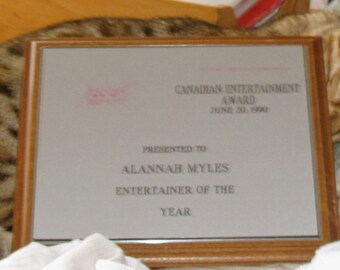 Award Plaque for Canadian Entertainer of the Year June 20, 1990