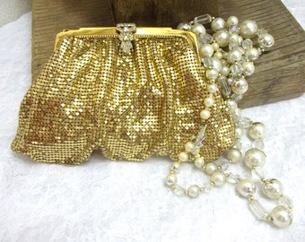 Whiting And Davis Gold Metal Mesh Purse Rhinestone Clasp Bridal Purse Dance Purse Party Purse Prom Purse Vintage Gold Metal Purse DD 270