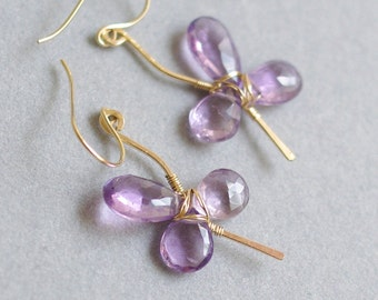 SALE--Floral Earrings with Amethyst, 14K Gold filled, wire wrapped. February birthstone. H705.