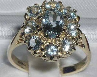Solid 9K Yellow Gold Natural Aquamarine Anniversary Ring, English Antique Style Floral Cluster Ring  - Made in England -Customizable