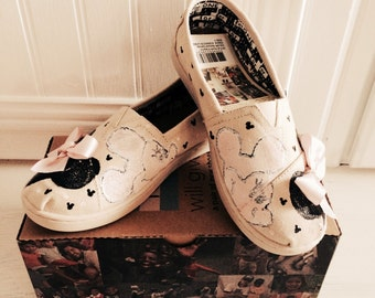 Adult Inspired by  Disney custom Toms Mickey Mouse Minnie Mouse hand painted