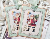 Shabby Santa Gift Tags (6) Christmas Favor Tags-Holiday Gift Tags-Christmas Gift Tag-Treat Tag-Shabby Christmas Tag-Christmas Gift Wrap