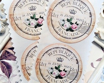Shabby Vintage French Postage Label Stickers / Seals - Set of 8 - Tags