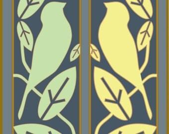 Bird Print, Bird Silhouette, Art Deco, Gray, Yellow and Green Bird Print, tweet tweet
