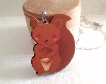 Cute Squirrel Necklace. Woodland Animal Jewelry. Nut. Silver Chain. Under 20. Gifts for Her. Animal Lover. Forest. Woodland Critter. Brown