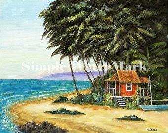 """Home Decor - Beach Hut 8""""x10""""  Tropical beach art print"""