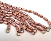"Vintage Copper Brass Tube Necklace Chains - 16"" Long - 4pc"