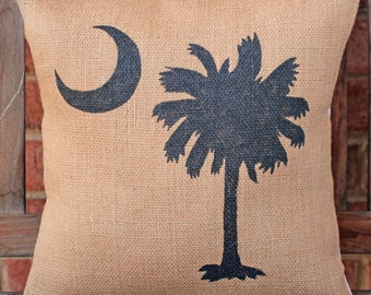 Hand Painted Palmetto Moon Burlap Pillow Cover
