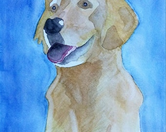 Custom Pet Portrait Original Watercolor Painting from Your Photo by Theresa Smith 11x14