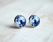 Outer Space Studs Earrings Astronomical Space Glass Post Earrings, Glass Dome Jewelry B110