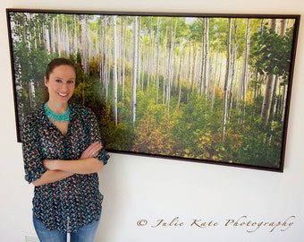 "20"" x 40"" Print on Canvas, Colorado Aspen Print on Canvas, Mahogany Frame, Fine Art Print - ""Warm Weather Aspens PANO"""