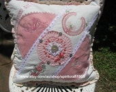 SALE Shabby Chic Vintage Lace Cushion Cover - home decor - size 16 in vintage calico, doilies, ribbon, lace, handmade flower, embroidery,