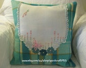 SALE Pillow/Cushion Cover - Upcycled Warrnambool woollen vintage blanket made into a pillow in turquoise blue embellished doily.