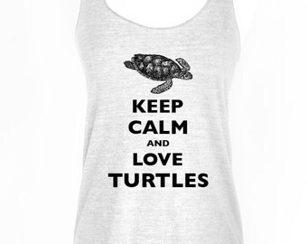 Keep Calm and Love Turtles Soft Tri-Blend Racerback Tank
