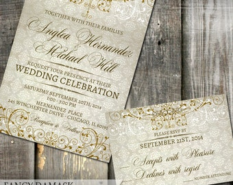 Fancy Damask Wedding Bridal Shower Invitations - Digital or Printed - Rustic Vintage Wedding Shower Invite