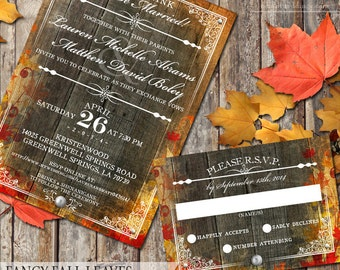 Autumn Fall Leaves Wedding Invitation and RSVP Stationery Wedding Stationery Fall Wedding Autumn Leaves Digital Files