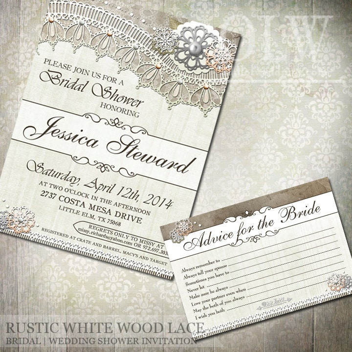 Rustic White Wood Lace Bridal Shower Invitations And Advice