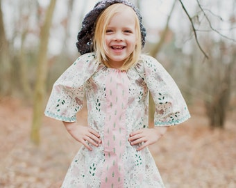 Wintersong / Girls 3/4 Sleeve Tunic Dress in Pale Pink and Green / NB - 5T / Made to Order