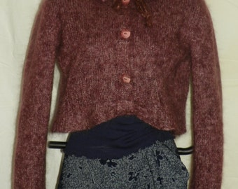 mohair top in raisin and orchid color