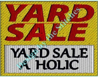Yard Sale Yard Sign INSTANT DOWNLOAD Embroidery Design Pattern