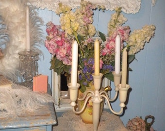 Lovely Up Cycled Silver plate Candelabra, Wedding, Shabby Chic, Eclectic