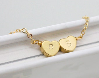 Initial bracelet,Heart initial bracelet,Double heart bracelet,Personalized bracelet,simple and delicate jewerly,best friend bracelet,wedding